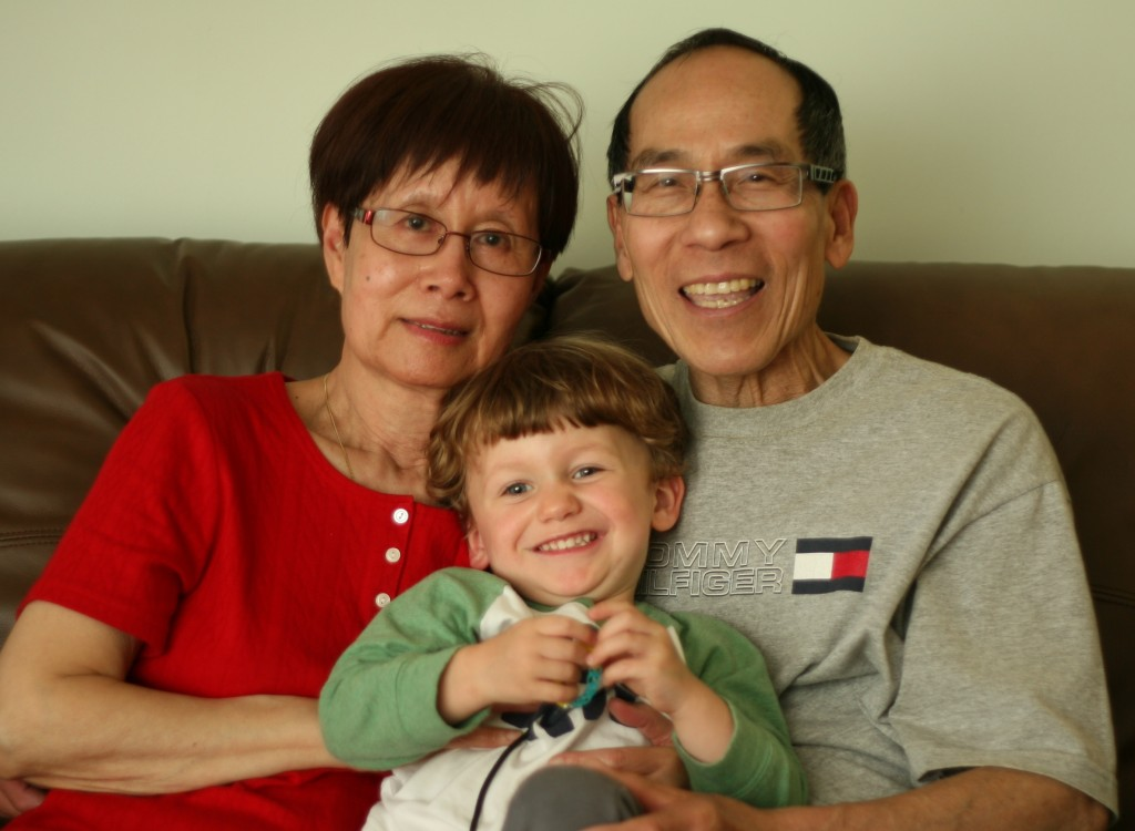 """Andrew with Albert's parents, who have been married for over 40 years. Andrew calls them """"A Ma"""" and """"A Yeh"""", which are """"grandma"""" and """"grandpa"""" in Chinese."""