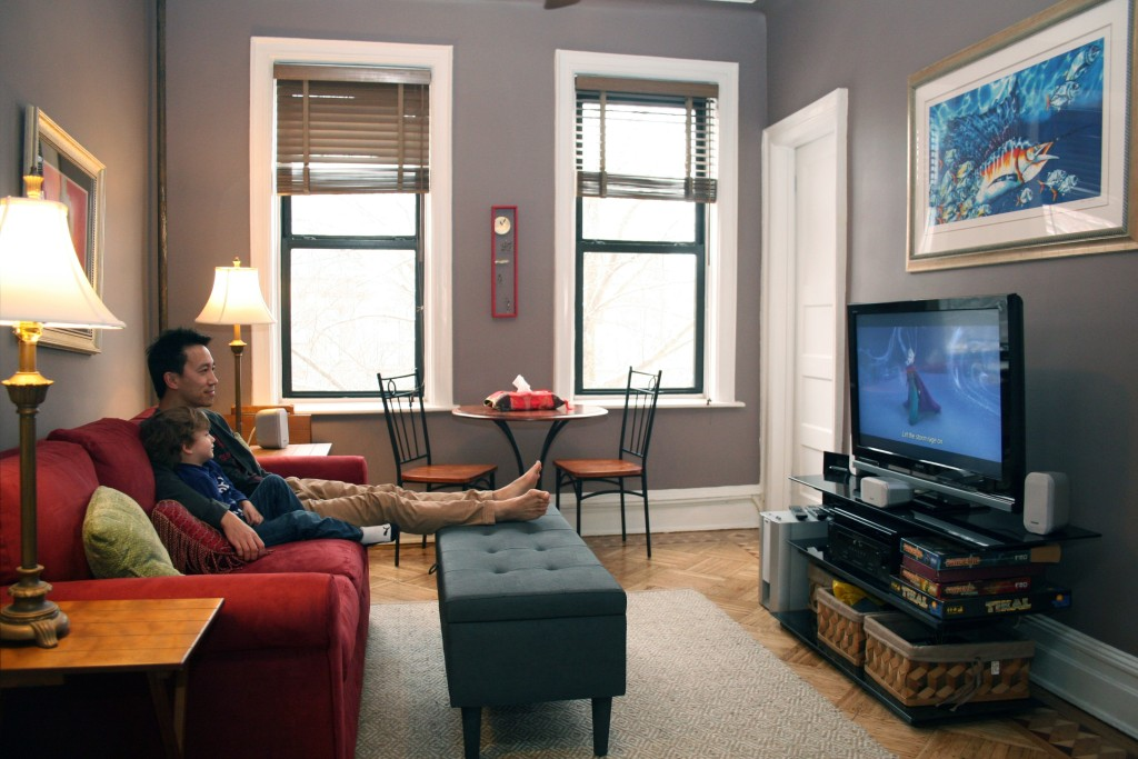 Our living room, where we have movie nights with popcorn!
