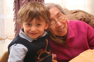 Andrew with his great-grandmother (Albert's grandmother), who is the same age as Nana.