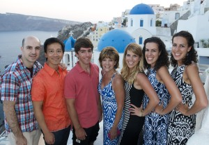Rich and Albert in Santorini, Greece, with Rich's Mom, sisters, and step-brother. Andrew has plenty of aunts and uncles who shower him with affection and gifts!