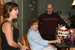 Rich and his Mom singing Happy Birthday to Nana, who is nearly 100 years old!
